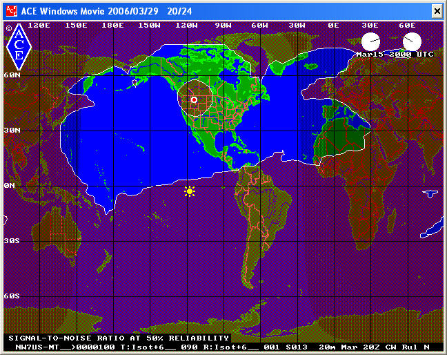 20-meter footprint of CW from NW7US, March 2010 at 2000 UTC - 70 percent of the month